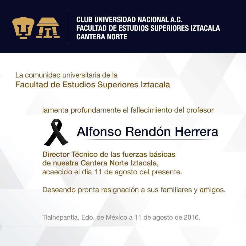 Lamentamos profundamente el fallecimiento del Profesor Alfonso Rendón Herrera