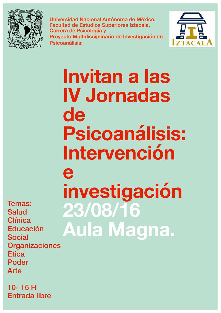 IV Jornadas de Psicoanálisis: Intervención en Investigación