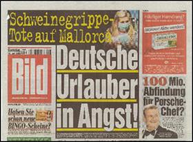 """""""Influenza-muertes en Mallorca. Alemanes que están de vacaciones tienen miedo!"""" Pandemia por AH1N1 periódico Bild, Alemania. 18 de julio de 2009."""