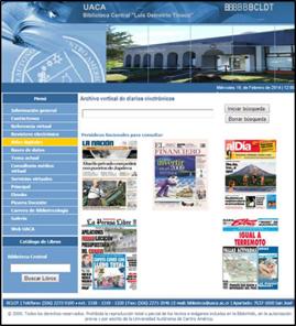 Portal del Archivo Vertical de la Universidad Autónoma de Centro América, Costa Rica. 26 de marzo de 2014.