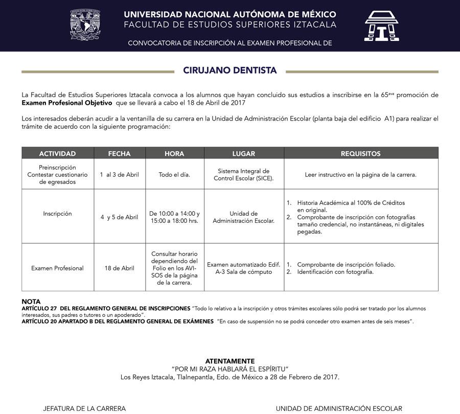 CONVOCATORIA DE INSCRIPCIÓN AL EXAMEN PROFESIONAL DE CIRUJANO DENTISTA