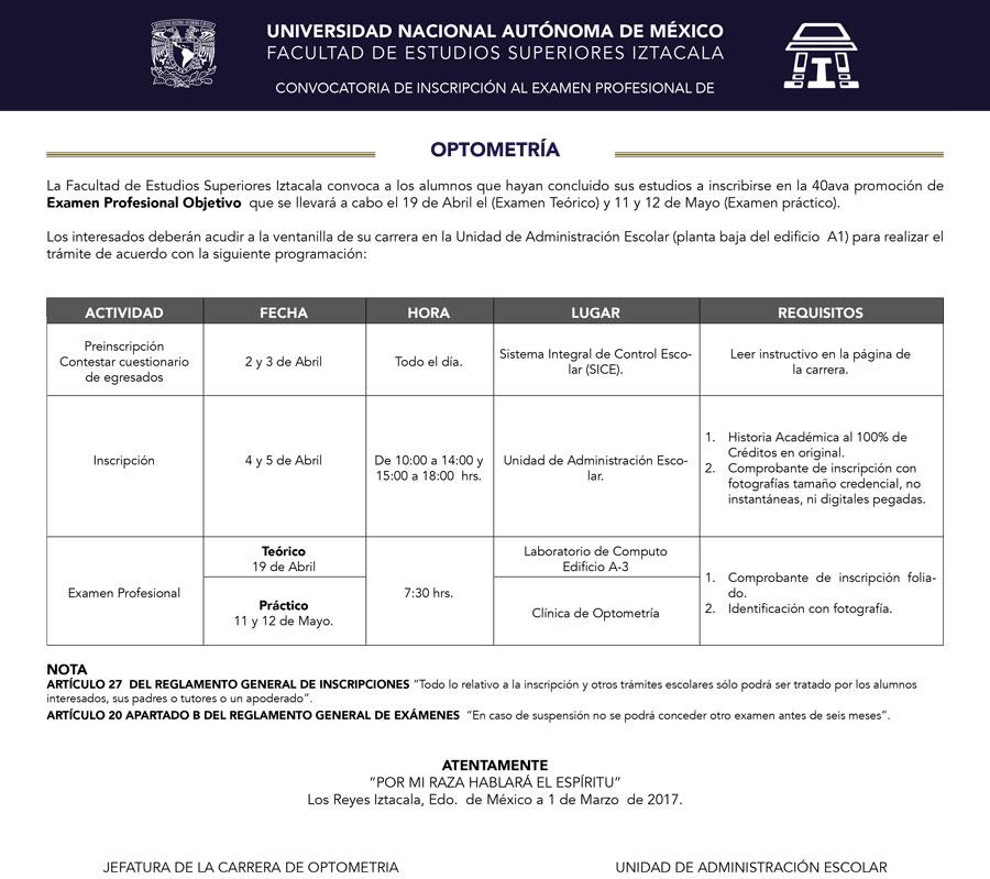 CONVOCATORIA DE INSCRIPCIÓN AL EXAMEN PROFESIONAL DE OPTOMETRÍA