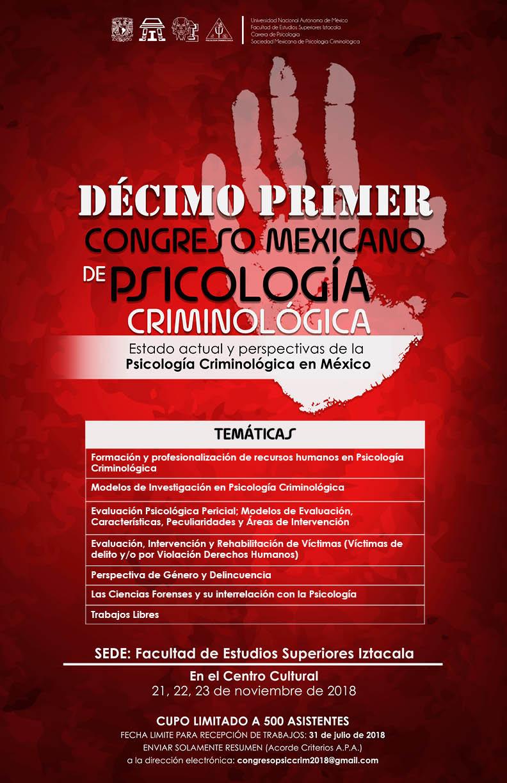Décimo primer Congreso Mexicano de Psicología Criminológica