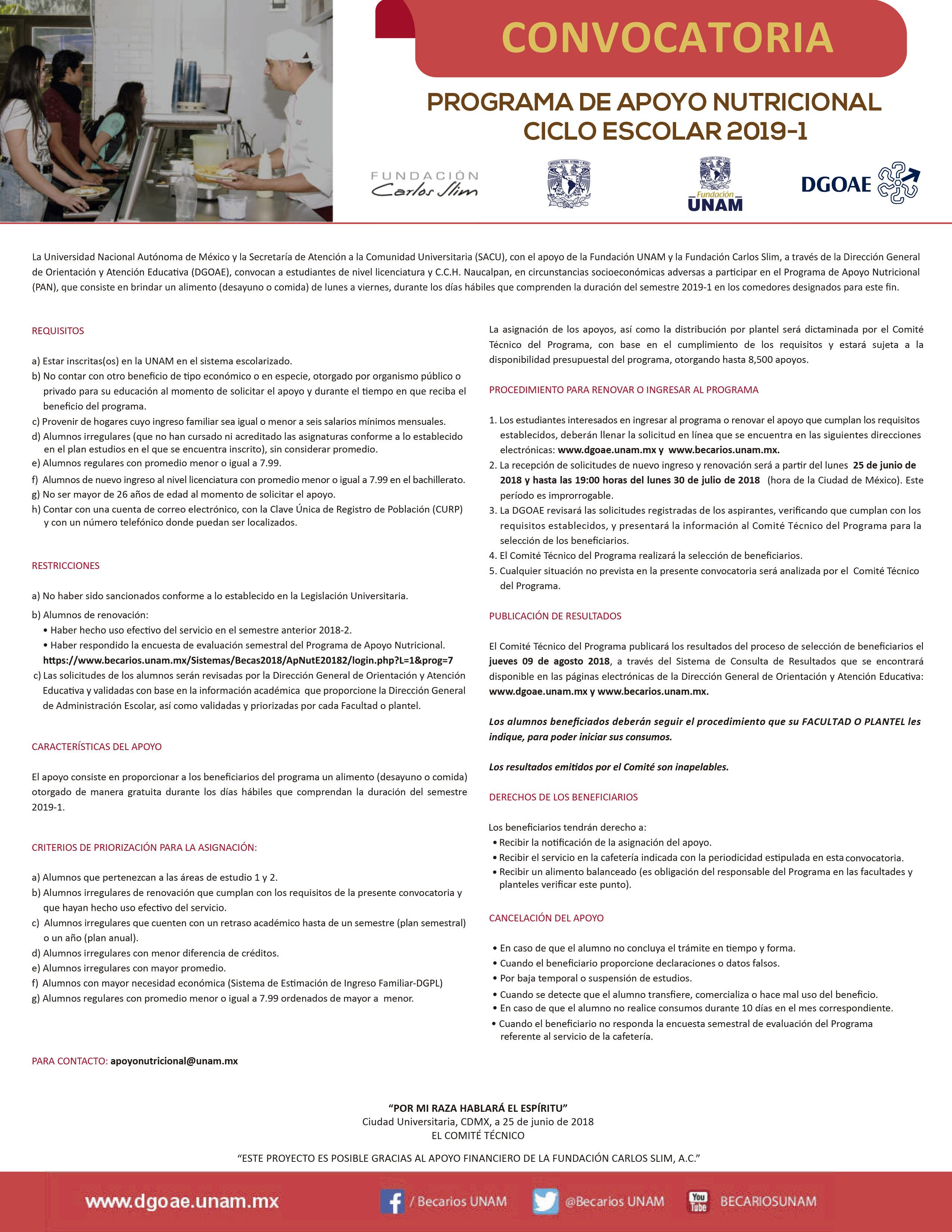 Convocatoria – Programa de Apoyo Nutricional Iztacala