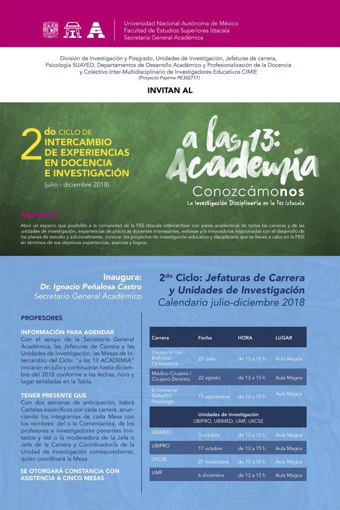 … a las 13 ACADEMIA – 2º Ciclo de Intercambio de Experiencias en Docencia e Investigación